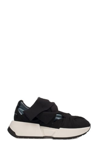 MM6 Maison Margiela Blue-black Metallic Faux Leather Slip On Wedge Sneakers (blauw/zwart)