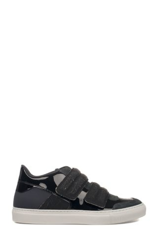 MM6 Maison Margiela Black Patent Leather Sneakers (zwart)
