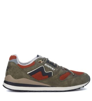 Karhu Karhu Synchron Classic Green Suede And Orange Mesh Sneakers (groen)