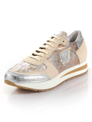 Sneaker met glanseffect Alba Moda beige/wit/zilverkleur