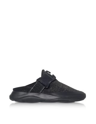 Christopher Kane Christopher Kane Designer Shoes, Tonal Black & Silver Fabric Slide Sneaker (Overige kleuren)