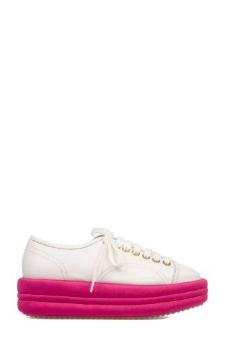 Marc Ellis White-fuchsia Leather Wedge Sneakers (wit)