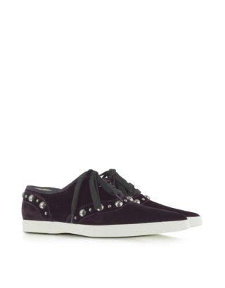 Marc Jacobs Marc Jacobs Designer Shoes, Purple Pointed Toe Lace Up Velvet Sneaker (Overige kleuren)