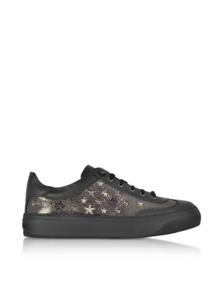 Jimmy Choo Jimmy Choo Designer Shoes, Ace EOR Metallic Gunmetal Leather Low Top Sneakers w/Studded Stars (Overige kleuren)
