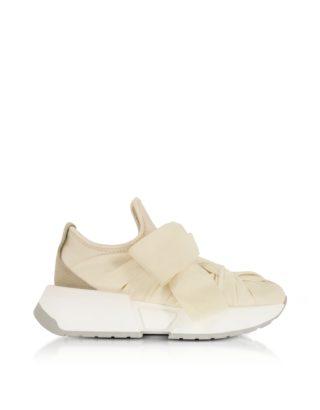 MM6 Maison Martin Margiela MM6 Maison Martin Margiela Designer Shoes, Beige, Taupe and Ecru Nylon and Leather Bow Sneakers (Overige kleuren)