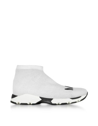 MM6 Maison Martin Margiela MM6 Maison Martin Margiela Designer Shoes, White and Black Logo Sock Sneakers (Overige kleuren)