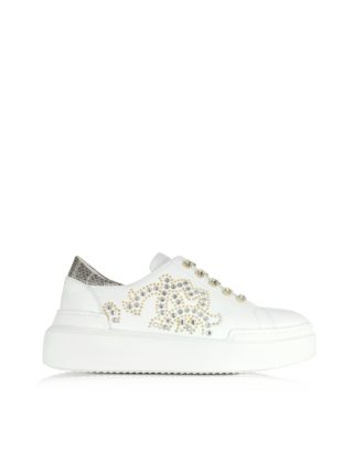 Roberto Cavalli Roberto Cavalli Designer Shoes, Pure White Leather and Crystals Slip on Sneakers (Overige kleuren)