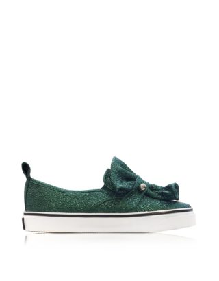 RED Valentino RED Valentino Designer Shoes, Dark Green Crackled Metallic Leather Slip On Sneakers (Overige kleuren)