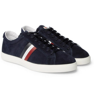 Moncler La Monaco Leather-trimmed Suede Sneakers – Navy