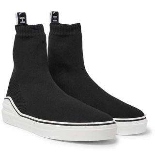 Givenchy George V Logo-jacquard Stretch-knit High-top Sneakers – Black
