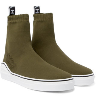 Givenchy George V Logo-jacquard Stretch-knit High-top Sneakers – Army green
