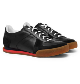 Givenchy Set3 Full-grain Leather And Suede Sneakers – Black