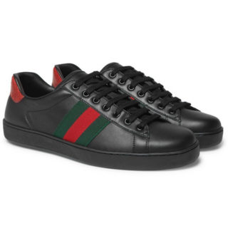 Gucci Ace Snake-trimmed Leather Sneakers – Black