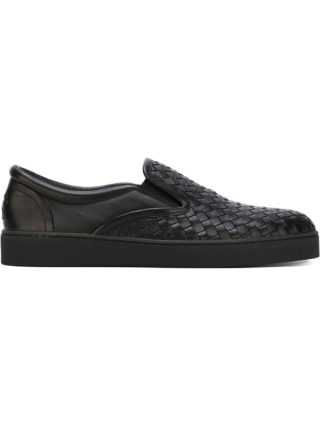Bottega Veneta intrecciato slip-on sneakers - Black