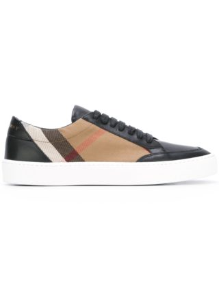 Burberry check detail leather sneakers (zwart)
