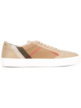 Burberry Check Detail Leather sneakers (Overige kleuren)