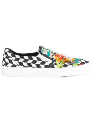 Doublet skull embroidered slip-on sneakers (wit)