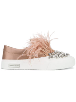 Miu Miu embellished slip-on sneakers (roze/paars)