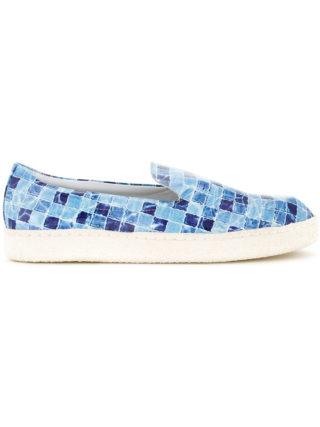 Diego Vanassibara tile print slip-ons (blauw)
