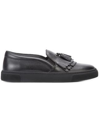 Louis Leeman fringed slip-on sneakers (zwart)
