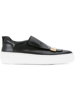 Sergio Rossi plaque detail slip-on sneakers (zwart)