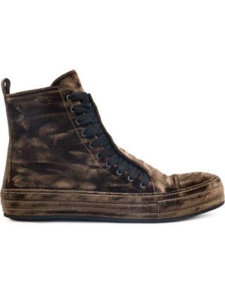 Ann Demeulemeester velvet hi-top sneakers (bruin)