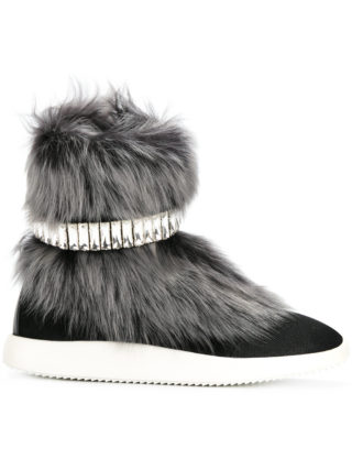 Giuseppe Zanotti Design Marley fur and crystal hi-top sneakers - Black