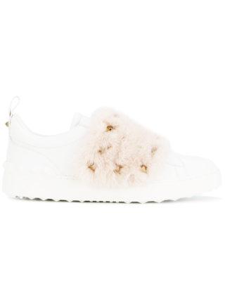 Valentino White Pink Open Rockstud Fur sneakers