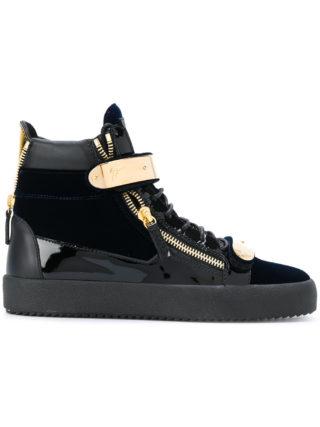 Giuseppe Zanotti Design Coby velvet hi-top sneakers - Blue