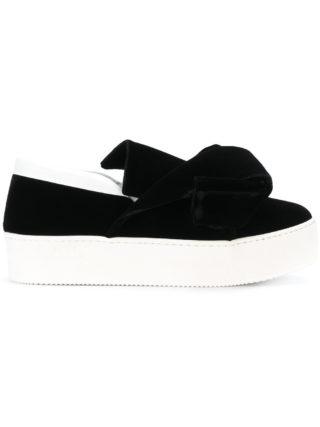 Nº21 bow slip-on sneakers (zwart)