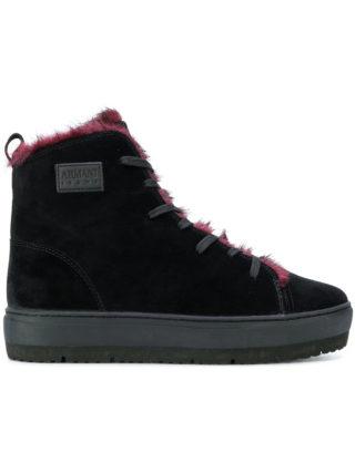 Armani Jeans hi-top lace up sneakers (zwart)