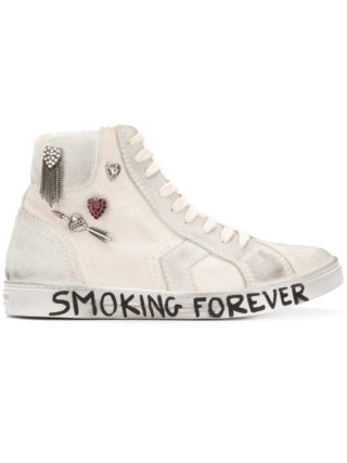 Saint Laurent White Joe canvas hi top sneakers (wit)