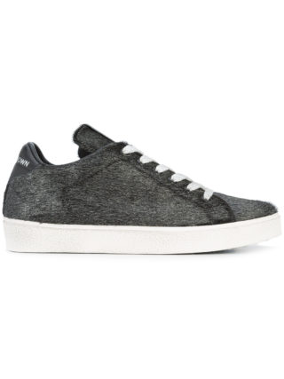 Leather Crown lace-up sneakers (zwart)