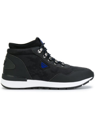 Armani Jeans lace-up hi-top sneakers (zwart)