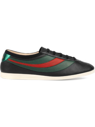 Gucci Leather low-top sneaker with Web - Black