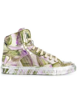 Mm6 Maison Margiela painterly-effect hi-top sneakers (zilver)