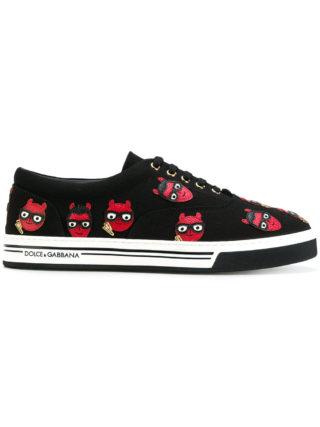 Dolce & Gabbana devil designer patch Brooklyn sneakers (zwart)