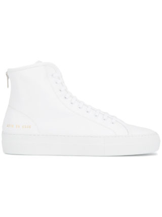 Common Projects White tournament Leather hi top sneakers