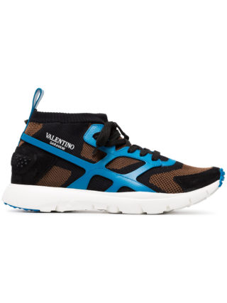 Valentino Sound High and Low Top Knit Sneakers (blauw)