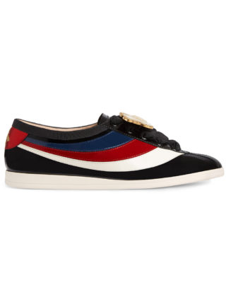 Gucci Falacer patent leather sneaker with Web - Black