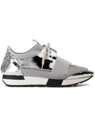 Balenciaga Grey and Silver Race Runner Leather Sneakers - Metallic
