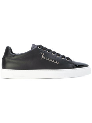 Billionaire metallic logo sneakers (zwart)