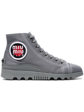 Miu Miu Grey Gabardine High Top Sneakers (grijs)