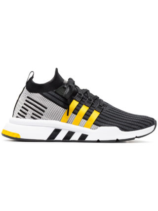Adidas Black And Yellow EQT Support Mid Adv Primeknit Sneakers (zwart)