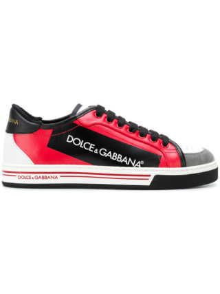 Dolce & Gabbana block panel lace-up sneakers (rood)