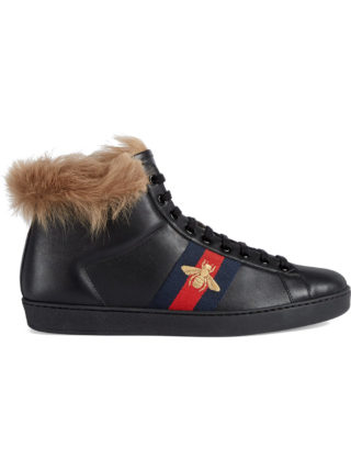 Gucci Ace high-top sneaker with fur - Black