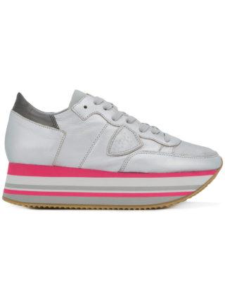 Philippe Model metallic platform sneakers (zilver)
