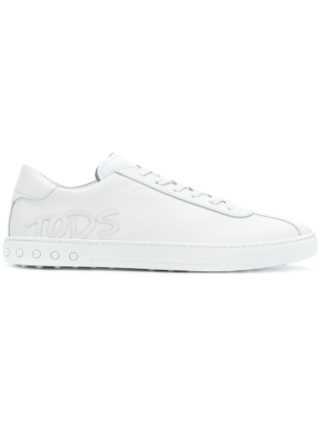 Tod's logo-appliqué lace-up sneakers (wit)