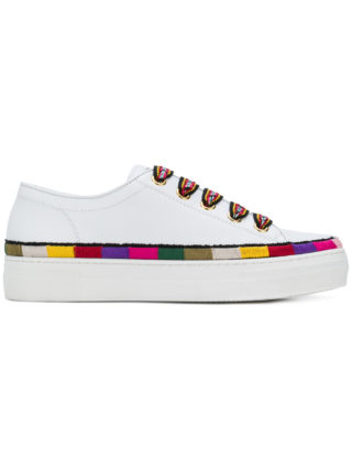 Etro stripe detail lace-up sneakers (wit)