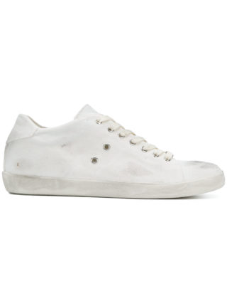 Leather Crown lace-up sneakers (wit)